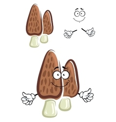 Brown morel mushroom cartoon character vector