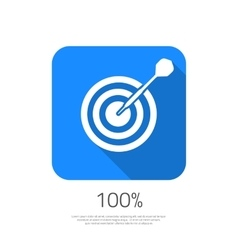 Flat target 100 hit the goal icon with long vector