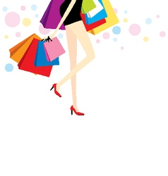 Woman with shopping bags vector
