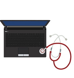 Laptop and stethoscope vector