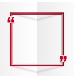 Red square quote frame at white folded paper vector