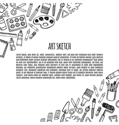 Artist tools sketch hand drawn banner vector