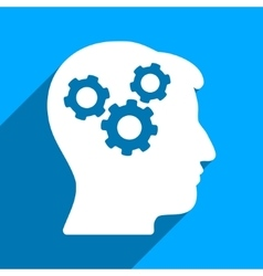 Brain gears flat square icon with long shadow vector