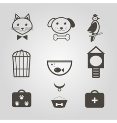 Pets icons set of pets shop symbols isolated vector