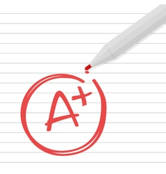 A plus grade on line paper with red pen vector