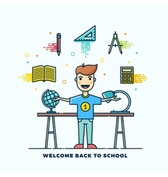 Back to School Line Style Flat vector image vector image