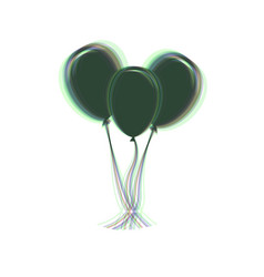 balloons set sign colorful icon shaked vector image vector image