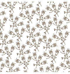 brown silhouette pattern with flowers with stem vector image