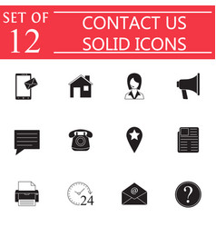 contact us solid icon set web communication signs vector image vector image