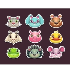 Cute cartoon animal face icons set vector