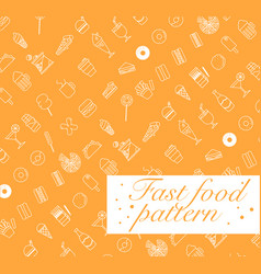 fast food icons set seamless patterninfographic vector image