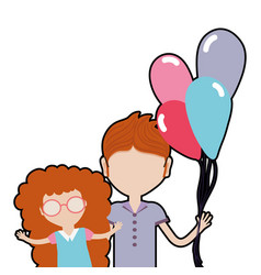 Father with his daughter and balloons vector