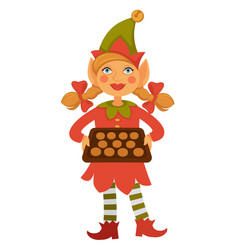 girl elf in cone hat holds tray full of cookies vector image