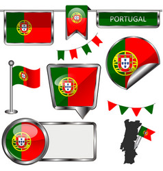 glossy icons with flag of portugal vector image