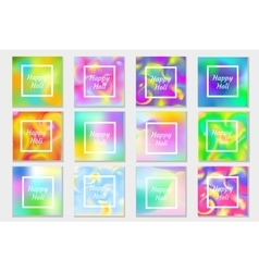 Happy Holi festival in India set greeting card vector image