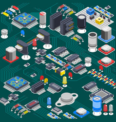 Isometric circuit board composition vector