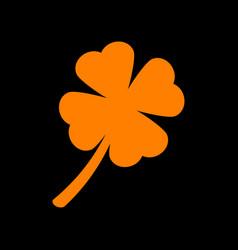 leaf clover sign orange icon on black background vector image