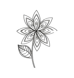 Lilac flower decoration sketch vector