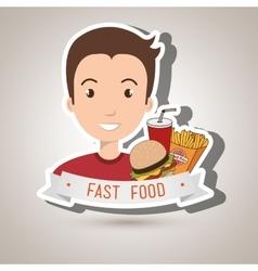 Man cartoon fast food vector
