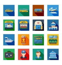 Passenger transportation flat square icons vector