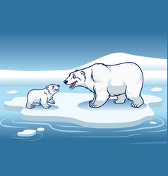 Polar bear and her cub standing in the top of the vector