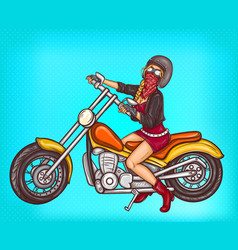 Pop art sexy biker girl sitting on a vector