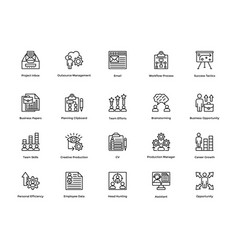 Project management line icons set 25 vector