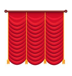 Red curtains silk theatre curtain vector