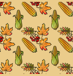 seamless pattern with corn rowan and leaves vector image vector image