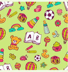 Seamless pattern with cute baby toys vector