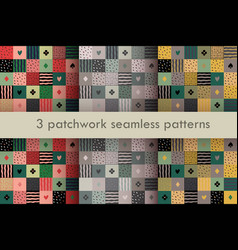 set of 3 colorful patchwork seamless patterns vector image