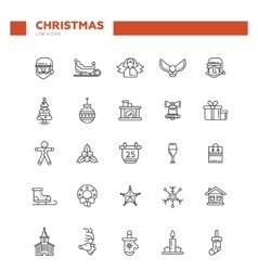 Set of Christmas and Happy New Year line flat vector image