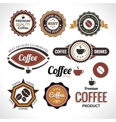 Set of coffee labels and badges retro style vector