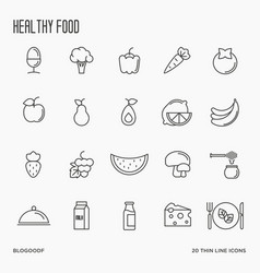 set of fruits and vegetables thin line icons vector image vector image