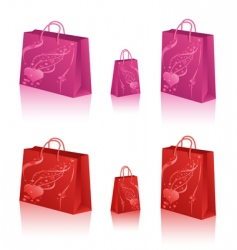 shopping bags with hearts vector image