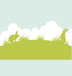 Silhouette of easter bunny landscape vector