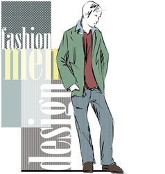 Sketch fashion handsome man vector image