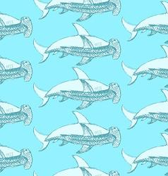 Sketch hammerhead shark in vintage style vector