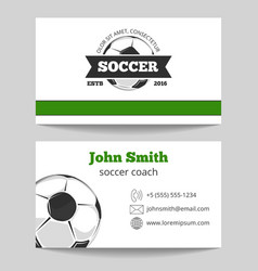 Soccer club business card template vector