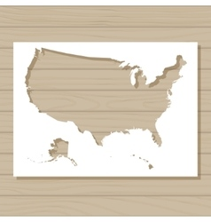 stencil template of USA map on wooden background vector image vector image