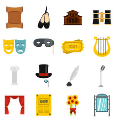theater set flat icons vector image