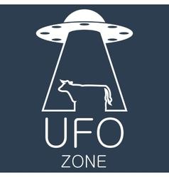 ufo zone logo on blue background vector image