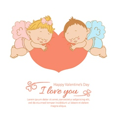Valentines Day card with two angels vector image vector image