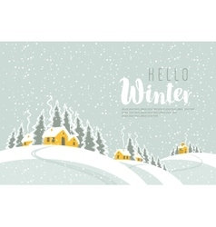 Winter landscape with village vector
