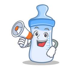 With megaphone baby bottle character cartoon vector