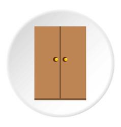 Wooden wardrobe icon circle vector