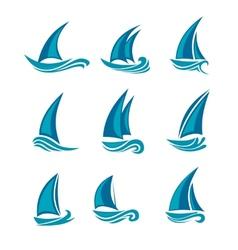 Yachts and sailboats vector image vector image