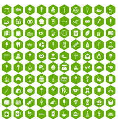 100 sweets icons hexagon green vector