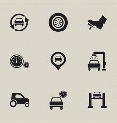 set of 9 editable vehicle icons includes symbols vector image