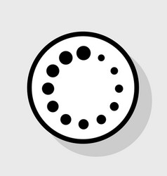 Circular loading sign  flat black icon in vector
